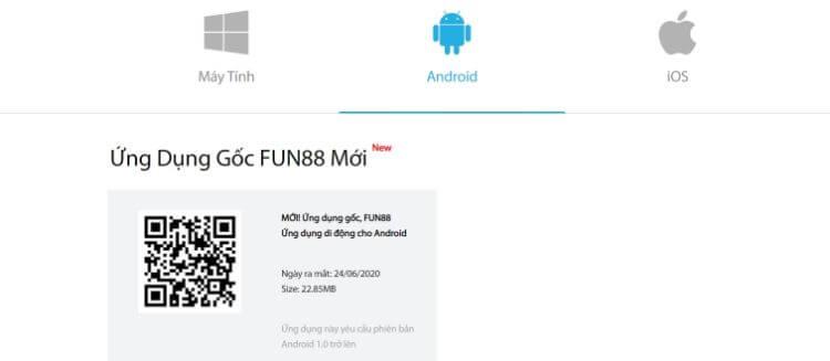 cài đặt ứng dụng FUN88