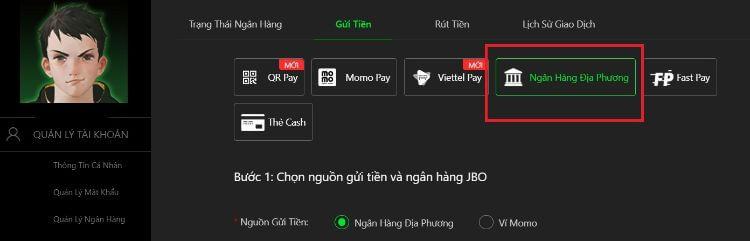 phương thức gửi tiền nhà cái JBO